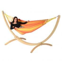 Hängematteset Single Wood & Dream Orange
