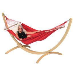 Hængekøje med Enkel Stativ Wood & Relax Red