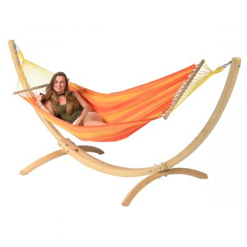 Hamaca Individual con Soporte Wood & Relax Orange
