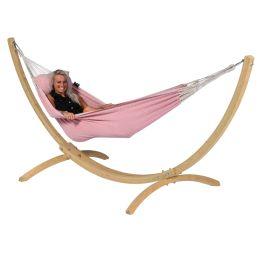 Hamac Sur Pied Single Wood & Natural Pink