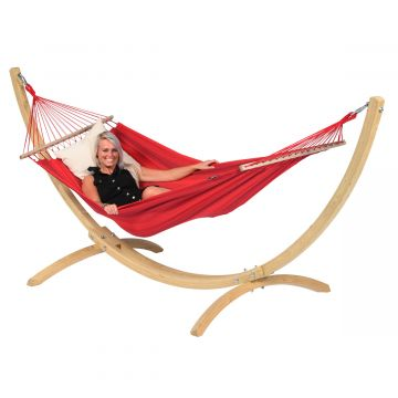 Hammock Set Single Wood & Relax Red