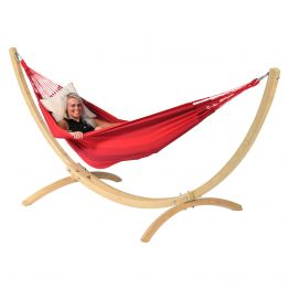 Hängmatta Enkel med Ställning Wood & Dream Red
