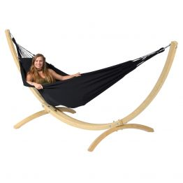 Hammock Set Single Wood & Classic Black