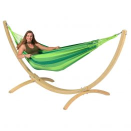 Hammock Set Single Wood & Dream Green