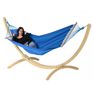 Hammock Set Single Wood & Relax Blue