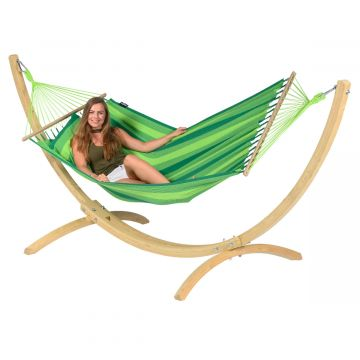 Hammock Set Single Wood & Relax Green
