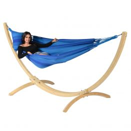Hammock Set Single Wood & Dream Blue