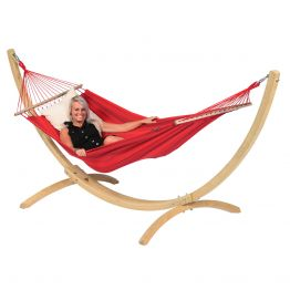 Hammock Set Single Wood & Relax Red